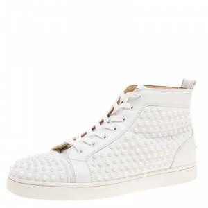 Christian Louboutin White Leather Louis Spikes Lace Up High Top Sneakers Size 44