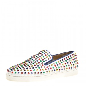 Christian Louboutin White Leather Roller Boat Multicolor Spiked Slip On Sneakers Size 44