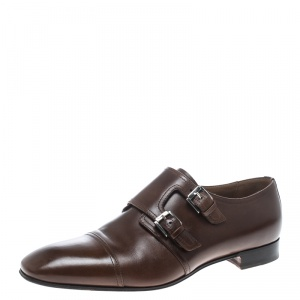 Christian Louboutin Brown Leather Mortimer Double Monk Strap Loafers Size 41.5