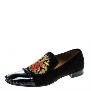 Christian Louboutin Black Suede and Patent Leather Loubi Forever Spike Loafers Size 40