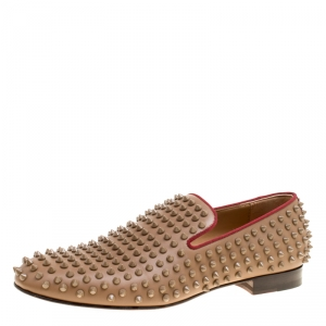 Christian Louboutin Brown Leather Rollerboy Spike Loafers Size 42