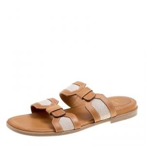 Christian Louboutin Brown Leather And Cotton Blend Ours Flat Mastic Flat Sandals Size 42.5
