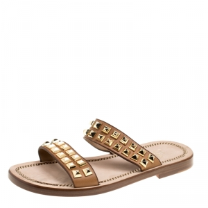 Christian Louboutin Brown Leather Studded Flat Sandals Size 42