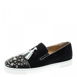 Christian Louboutin Black Suede Spiked Tassel Detail Sneakers Size 42