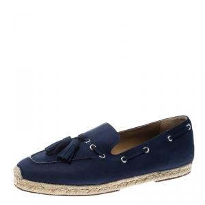 Christian Louboutin Blue Nubuck Leather Tassel Embellished Espadrilles Loafers Size 42