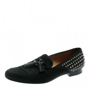 Christian Louboutin Black Pony Hair Leather Tassel Detail Spike Loafers Size 42.5