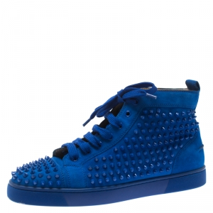 Christian Louboutin Blue Suede Louis Spike High Top Sneakers Size 41.5