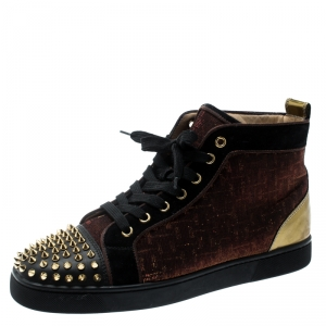 Christian Louboutin Black/Gold Leather And Holographic Fabric Lou Spikes Embellished High Top Sneakers Size 41