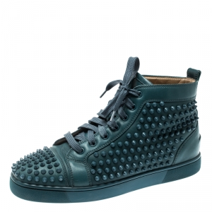 Christian Louboutin Blue Leather Louis Spike High Top Sneakers Size 41