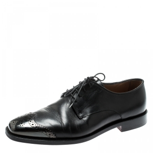Christian Louboutin Black Leather Brogue Metal Cap Toe Derby Oxfords Size 40.5