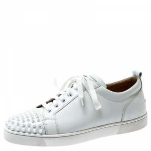 Christian Louboutin White Leather Louis Junior Spikes Sneakers Size 42