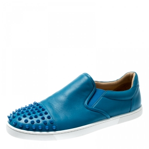 Christian Louboutin Blue Spike Leather Skate Slip On Sneakers Size 41