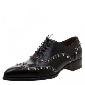 Christian Louboutin Black Leather Spike And Crystal Trim Wing Tip Lace Up Oxfords Size 42