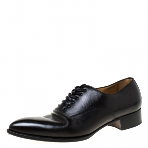 Christian Louboutin Black Leather Lace Up Oxfords Size 41.5