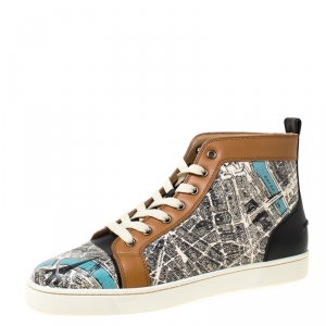 Christian Louboutin Multicolor Printed Leather High Top Sneakers Size 42.5