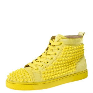 Christian Louboutin Canary Yellow Suede Louis Spike High Top Sneakers Size 42