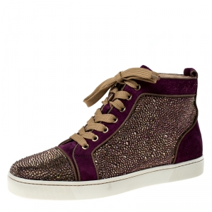 Christian Louboutin Purple Suede Strass Louis High Top Sneakers Size 40