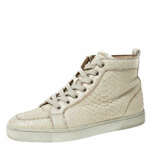 Christian Louboutin White Python Leather Rantus High Top Sneakers Size 41.5