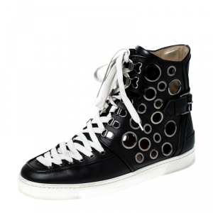 Christian Louboutin Black Leather Alfibully High Top Lace Up Sneakers Size 42