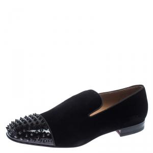 Christian Louboutin Black Velvet Spooky Spiked Toe Cap Smoking Slippers Size 44