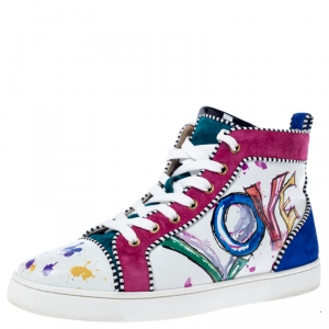Christian Louboutin Multicolor Leather and Suede Love High Sneakers Size 42