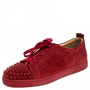 Christian Louboutin Red Suede Trainers Spikes Sneakers Size 42.5