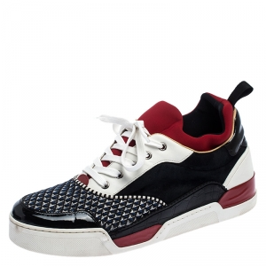 Christian Louboutin Multicolor Leather and Fabric Aurelien Sneakers Size 42.5
