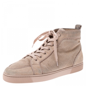 Christian Louboutin Beige Suede High Top Lace Up Sneakers Size 45