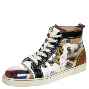 Christian Louboutin Multicolor PVC And Leather Trash High Top Sneakers Size 41