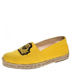 Christian Louboutin Yellow Canvas Nanou Creast Espadrilles Size 40