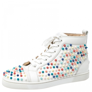 Christian Louboutin White Leather Multicolor Louis Spikes Lace Up High Top Sneakers Size 40.5