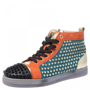 Christian Louboutin Multicolor Mesh, Suede And Leather Lou Spikes Orlato Sneakers Size 40