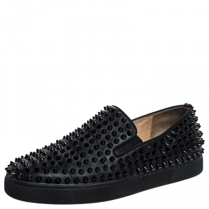 Christian Louboutin Black Leather Roller Boat Spiked Slip On Sneakers Size 40