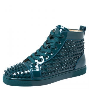 Christian Louboutin Teal Patent Leather Louis Spike High Top Sneakers Size 40.5