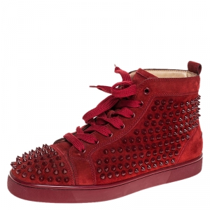 Christian Louboutin Red Suede Louis Spike High Top Sneakers Size 40.5