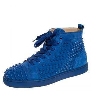 Christian Louboutin Blue Suede Louis Spikes High Top Sneakers Size 40.5