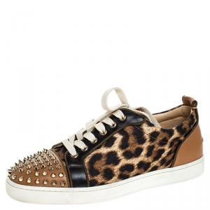 Christian Louboutin Brown Leather And Leopard Print Canvas Louis Junior Spikes Sneakers Size 40.5