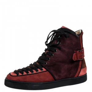 Christian Louboutin Two Tone Suede Alfie High Top Sneakers Size 41