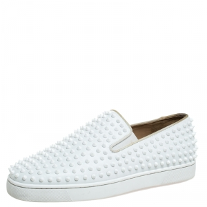 Christian Louboutin White Leather Roller Boat Spiked Slip On Sneakers Size 45