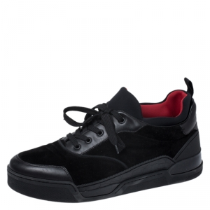 Christian Louboutin Black Leather, Suede and Fabric Aurelien Sneakers Size 45