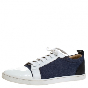 Christian Louboutin Tricolor Patent Leather And Denim Fabric Low Top Sneakers Size 43