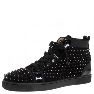 Christian Louboutin Black Suede Leather Louis High Top Sneakers Size 43.5