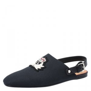 Christian Louboutin Blue/Black Canvas And Leather Oliveira Flats Size 40.5