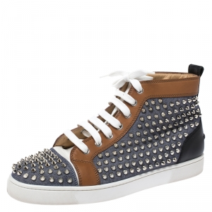 Christian Louboutin Multicolor Denim And Leather Louis Spikes Lace Up High Top Sneakers Size 42