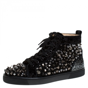 Christian Louboutin Black Suede, Patent Leather And Velvet Embellished Pik Pik Louis High Top Sneakers Size 41.5
