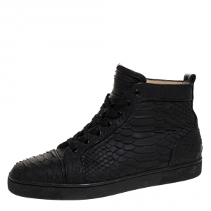 Christian Louboutin Black Python Leather Rantus Orlato High Top Sneakers Size 42.5