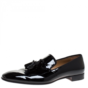 Christian Louboutin Black Patent Leather Dandelion Tassel Slip On Loafers Size 43.5