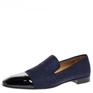 Christian Louboutin Blue/Black Fabric And Patent Leather Dandelion Loafers Size 43