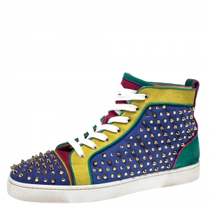 Christian Louboutin Multicolor Suede Louis Spikes High Top Sneakers Size 43