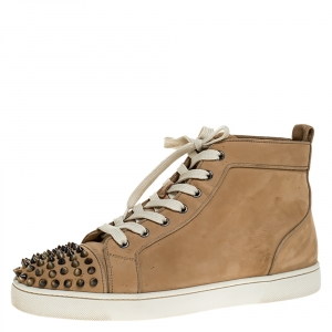 Christian Louboutin Beige Suede Louis Spikes High Top Sneakers Size 42.5